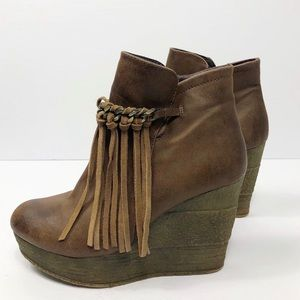 Sbicca Fringe Wedge Booties
